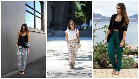 Três exemplos de looks com rasteirinha e calça indiana.