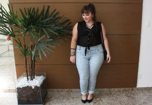 look calça jeans clara