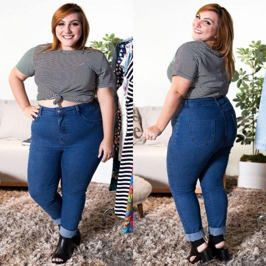look com calça de cintura alta