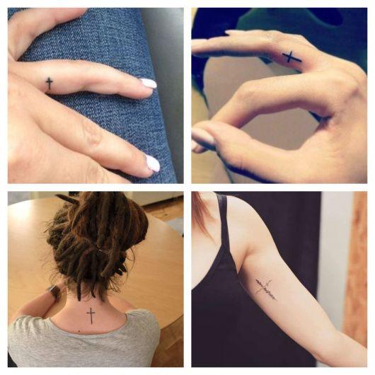 Pequenas tatuagens de cruz em regiões estratégicas do corpo, como nos dedos e na nuca