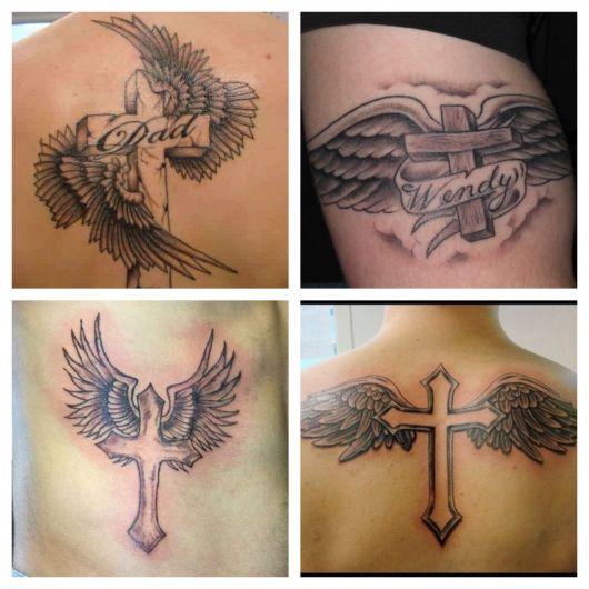Eternidade, proteção e fidelidade são alguns significados da tatuagem de cruz com asas