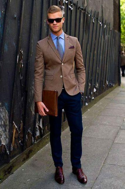 E então, que tal usar sapato marrom com um blazer marrom?