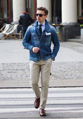 Sapato oxford masculino marrom, calça cinza e jaqueta jeans