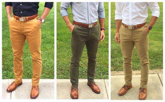 Sapato Oxford marrom com calças de sarja e camisa: um look mais leve para o trabalho