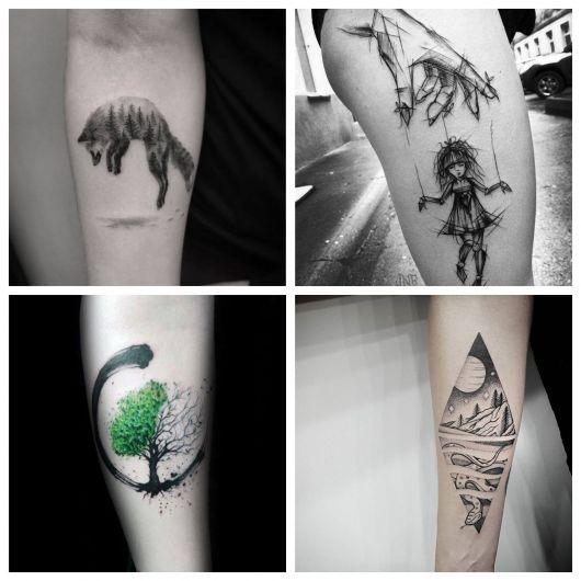 Tatuagens femininas criativas e em linhas minimalistas