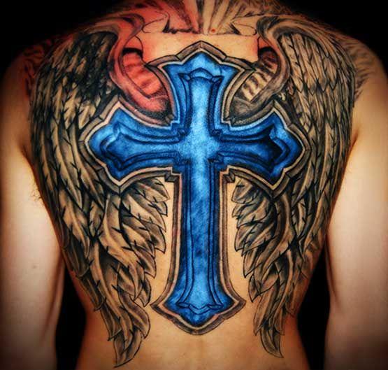 Uma cruz toda azul com asas