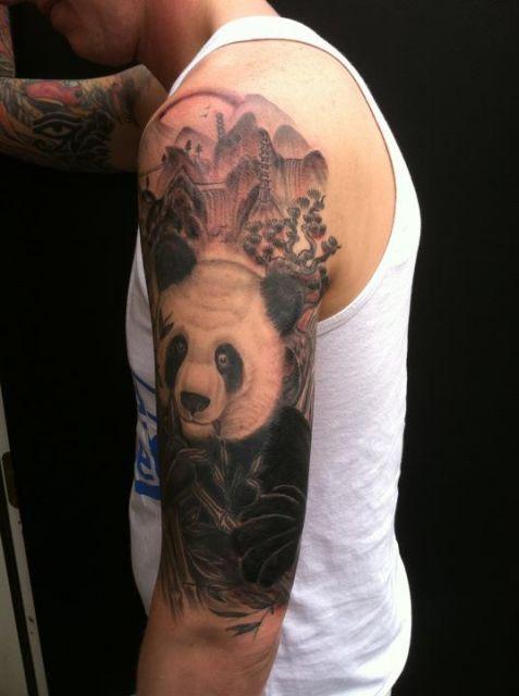 tatuagem de panda fotogenica braço