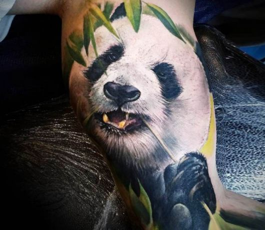 tatuagem de panda braço realista