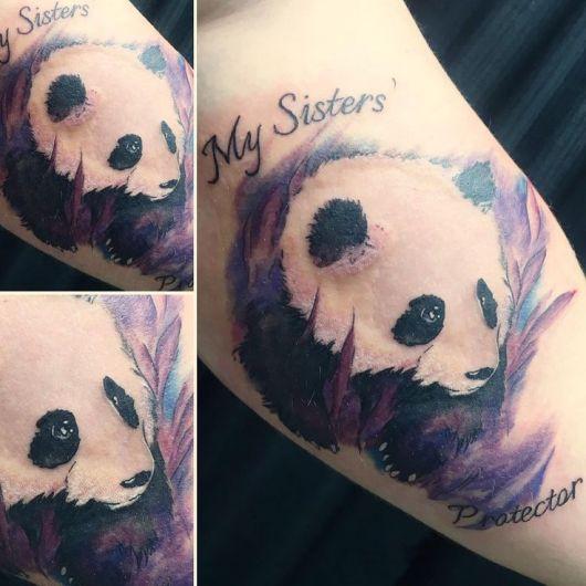 tatuagem de panda colorida irmã sister