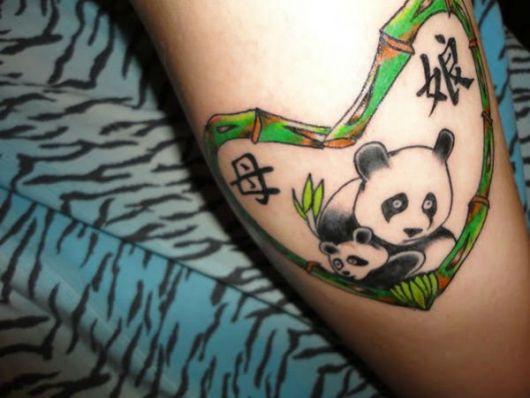 tatuagem de panda mae e filho