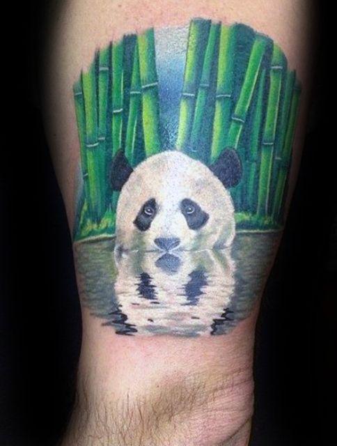 tatuagem de panda panturrilha
