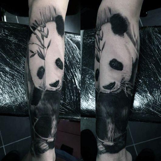 tatuagem de panda completa antebraço