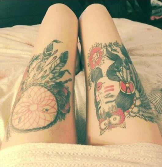 desenhos de tatuagem filtro dos sonhos na coxa