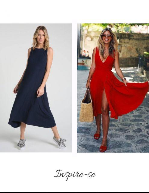 vestido de malha nas cores vermelho e azul marinho.