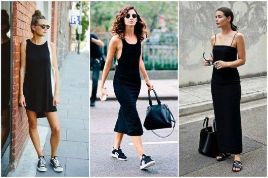 Modelos usam vestido midi preto.