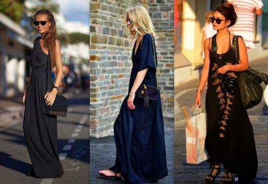 modelos usam vestidos de malha nas cores preto e azul marinho.