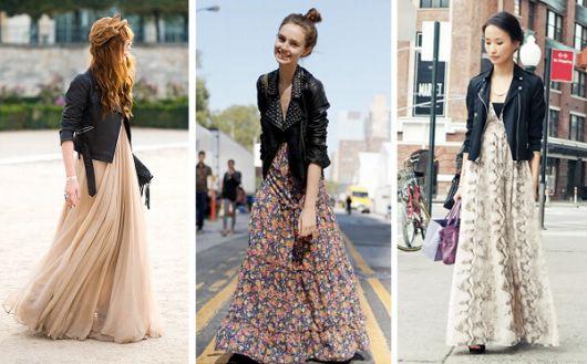 Modelos usam vestido de malha longo com jaqueta preta de couro.