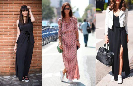 Modelos usam vestidos de malha longos.