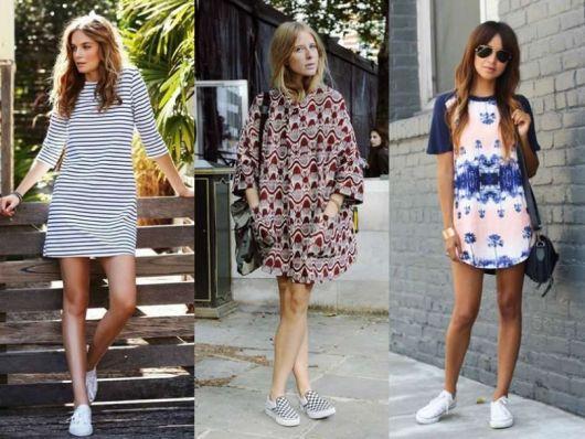 Modelos usam vestidos curtos estampados.