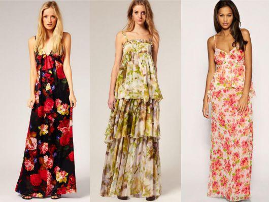 modelos vestem vestidos florais nas cores preto e vermelho, verde e nude e rosa com branco.