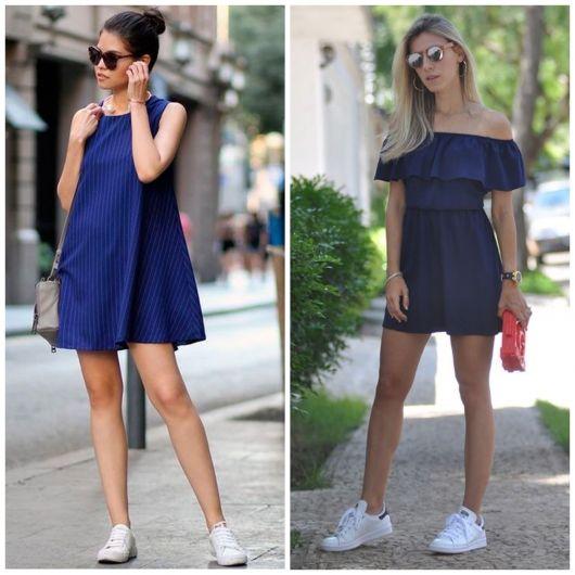 Modelos usam vestidos nas cores azul de malha com tenis branco.