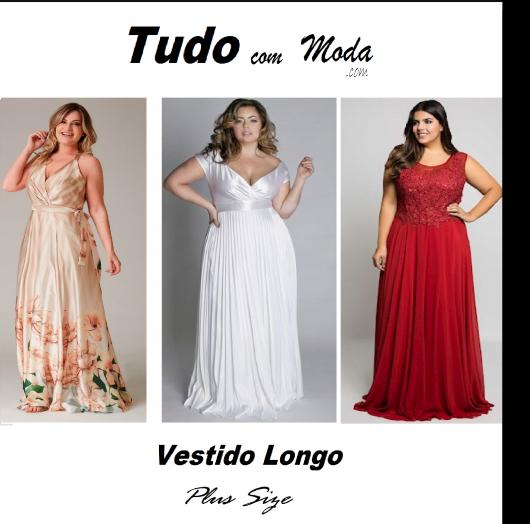 Modelo veste vestido longo plus size nas cores branco, vermelho e estampado nude.