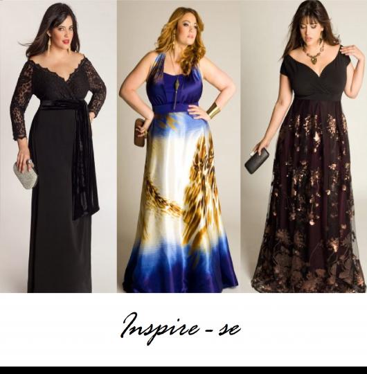 Modelos usam vestidos nas cores azul, preto e preto com renda.