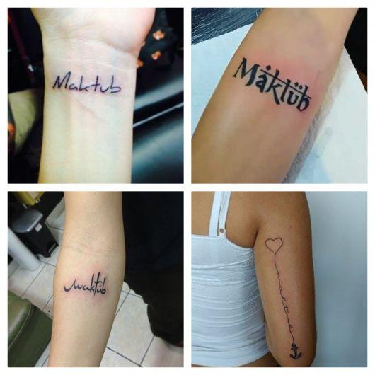 Viu só como dá para fazer uma tattoo Maktub com vários conceitos diferentes?