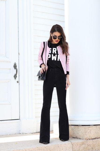 look calça flare com blazer