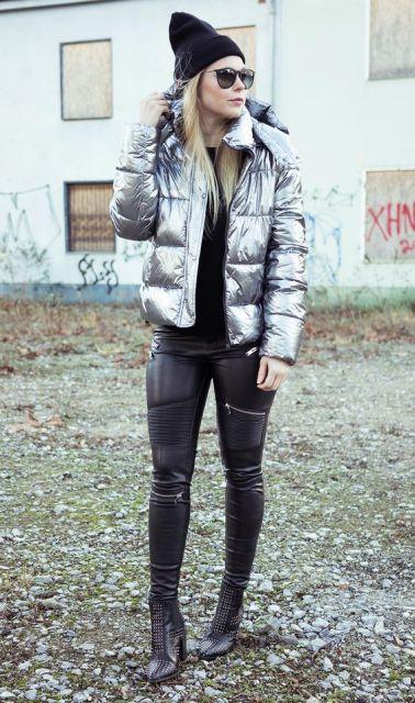 look com jaqueta metalizada