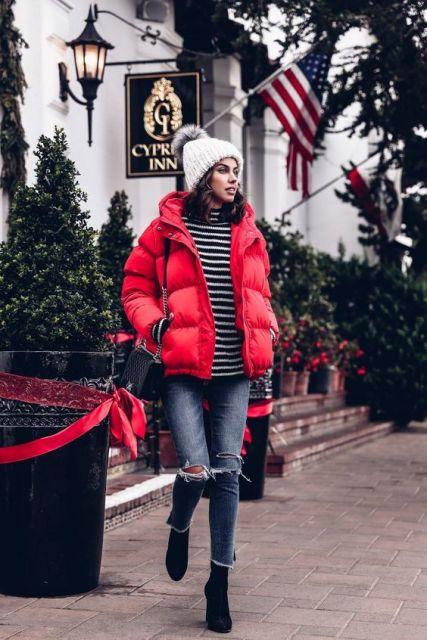 look com jaqueta vermelha