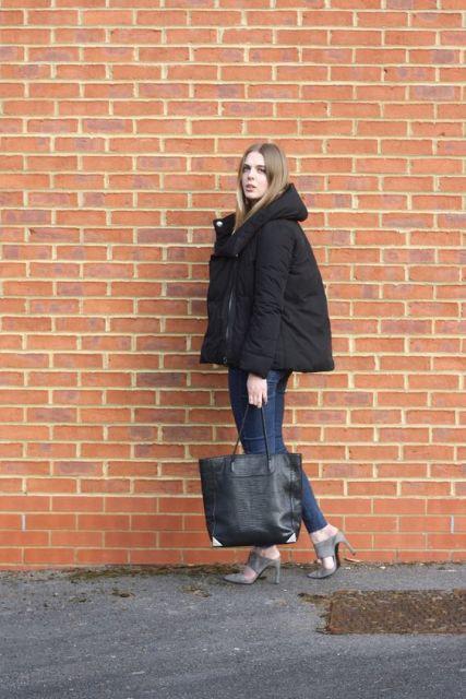 look com jaqueta preta de capuz