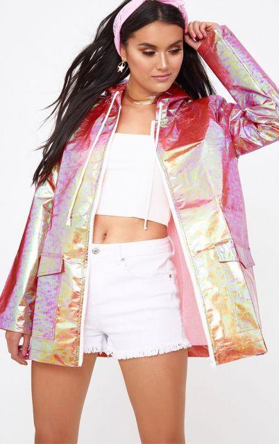 look com jaqueta  rosa
