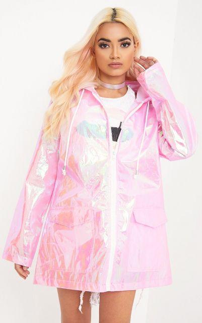 look com jaqueta rosa transparente