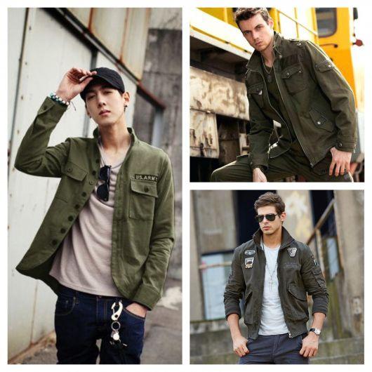 Looks sóbrios e básicos com a jaqueta militar