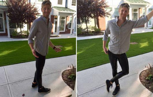 Com camisa e sapatênis