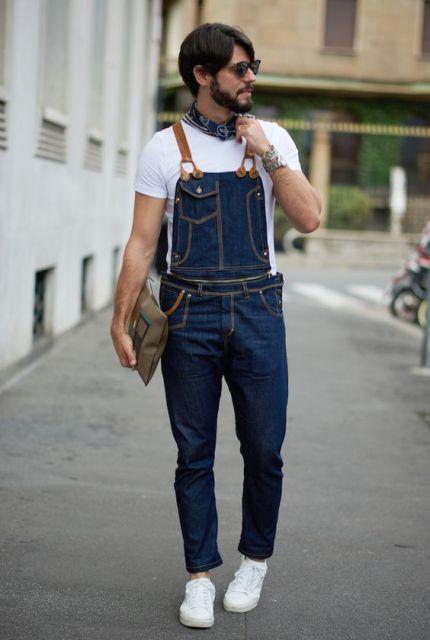 Lenço masculino combinando com a jardineira/macacão masculino