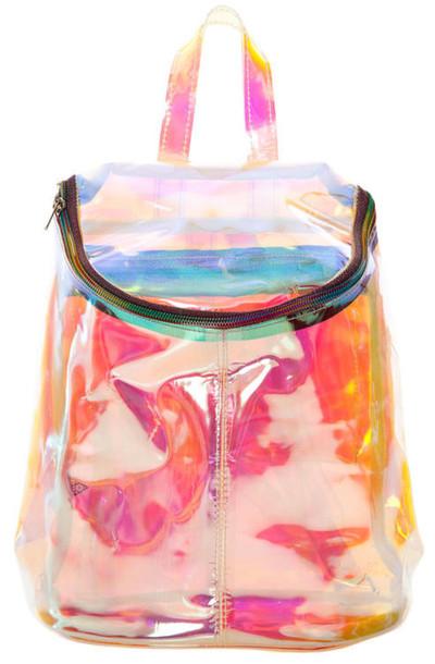mochila colorida holográfica