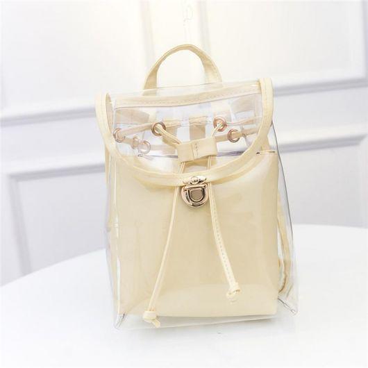 mochila incolor com bolsa