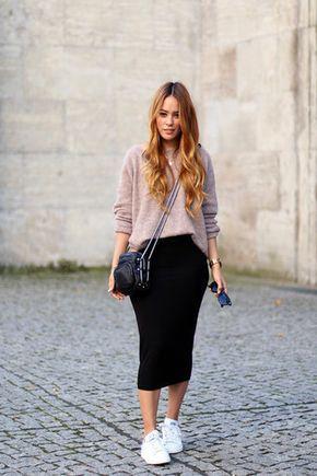 look saia preta com suéter