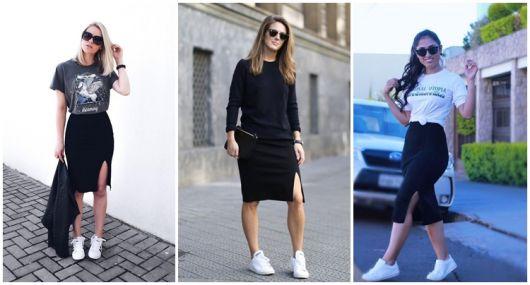 como usar saia com fenda