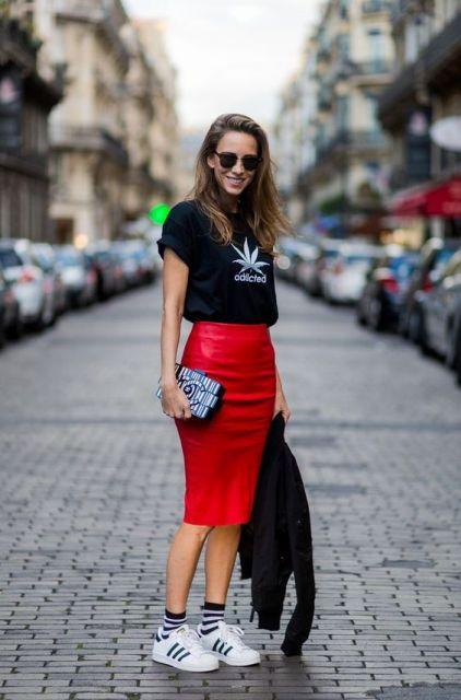 look com saia vermelha