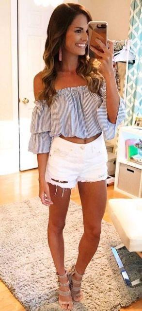 look short com blusa ciganinha