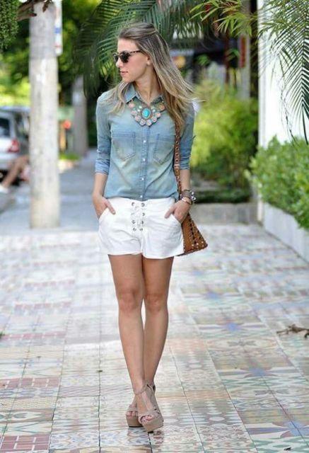 look short com camisa jeans