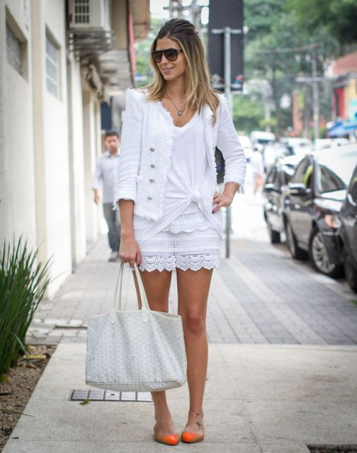 look branco com sapatilha