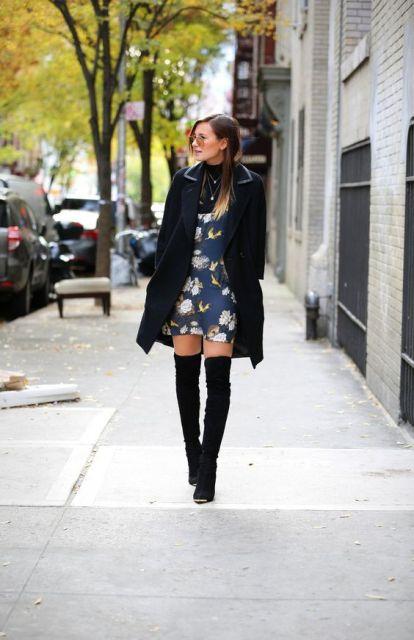 look de inverno com vestido floral
