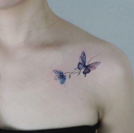 tatuagem colorida borboleta