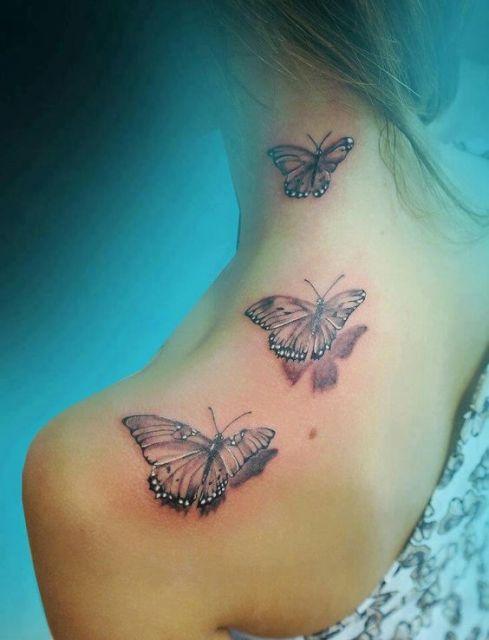 tattoo de borboleta sombreada