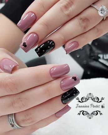 nail art rosa e preto