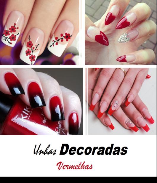 unhas decoradas vermelhas.